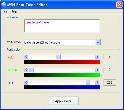 Choose the font color you like for your MSN from 32-bit true colors.